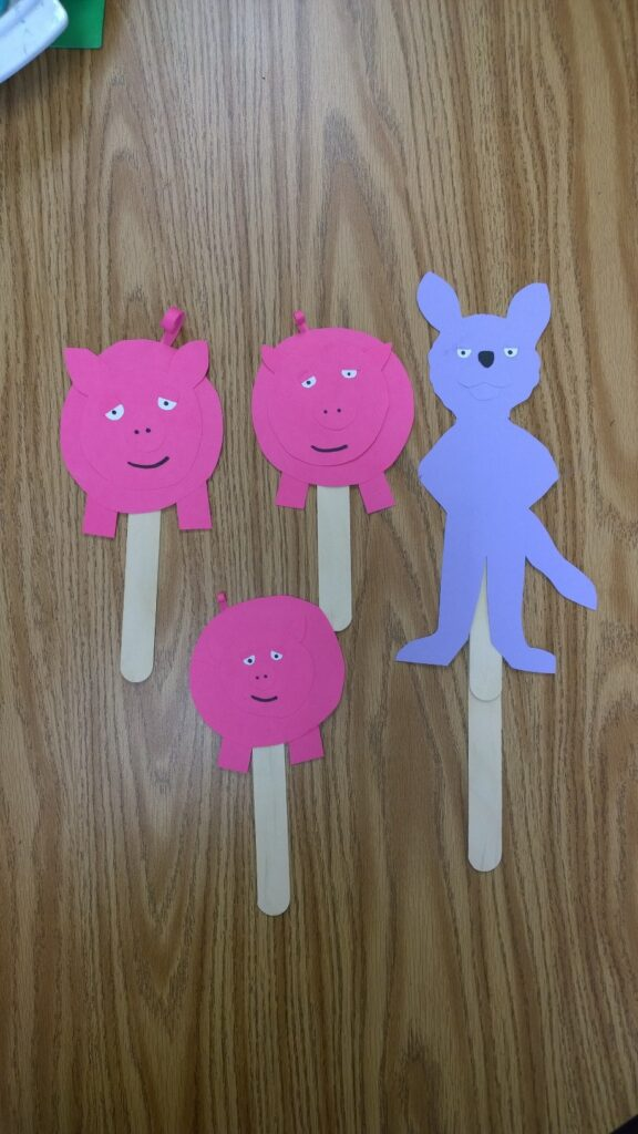 The Three Little Pigs and The Big Bad Wolf Puppets